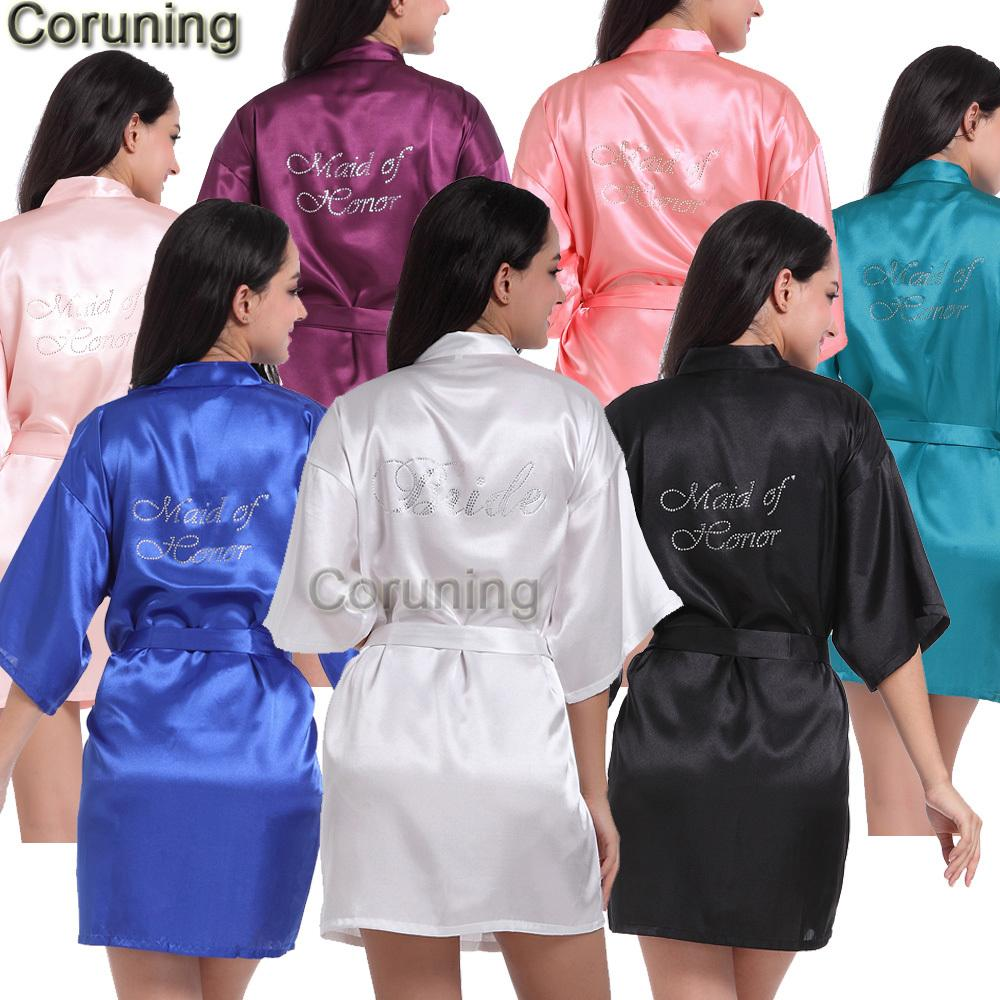 c2da95b807 RB89 Rhinestone Letter Bride Robes Bridesmaids And Maid Of Honor Robes  Sleepwear Nightwear Wedding Bathrobe Night Dress Gown S1015 Sexy Pj Sets  Sexy Satin ...