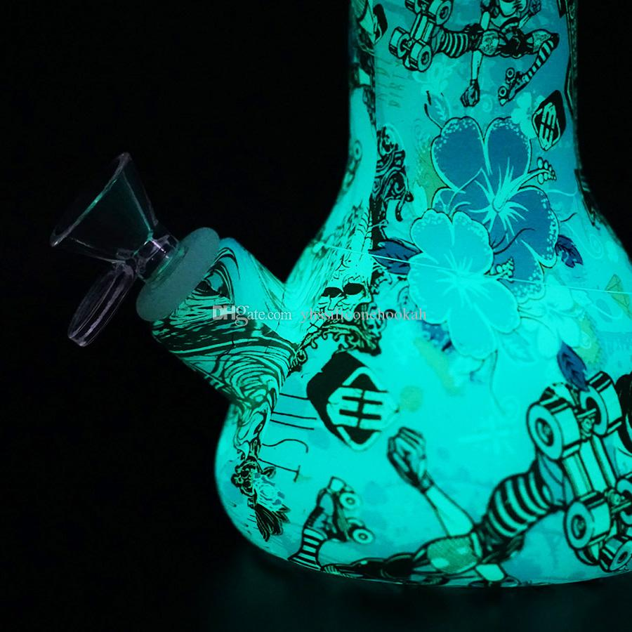 Karanlıkta Glow 13.5 '' beher tasarım silikon sigara su boruları silikon nargile kırılmaz nargile filtre cam bong dar teçhizat
