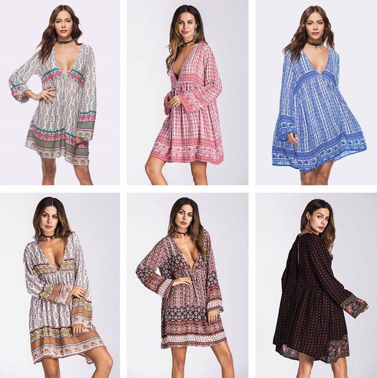 2b610b7388ae Summer Autumn Long Sleeve Boho Dress Women Cotton Casual Dresses V Neck  Floral Stripe Print Mini Dress Maternity Dresses CSH0132 Womens Party Dress  Evening ...