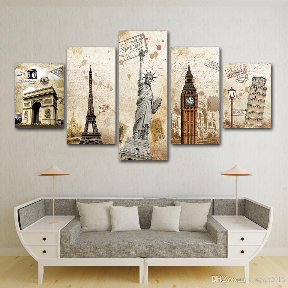 Hd printed 5 piece canvas art vintage iconic building canvas prints big ben free girl statue tower poster for wall decoration