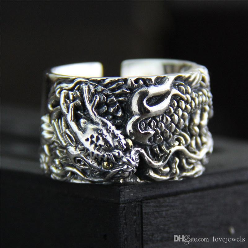 dee693e27 925 sterling silver ring vintage Exaggerated personality men's ring Thai  silver carved dragon wide mood ring adjustable hip hop jewelry. Store-wide  Discount