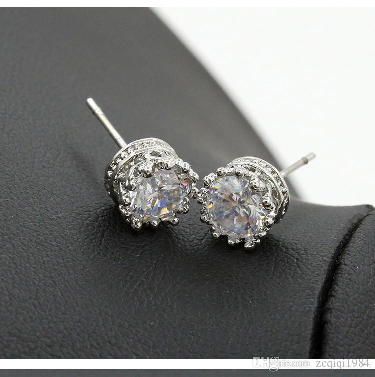 1 Carat Zircon Crown stud Earring for Women gold color Wedding Jewelry Earrings female Ear Jacket brincos