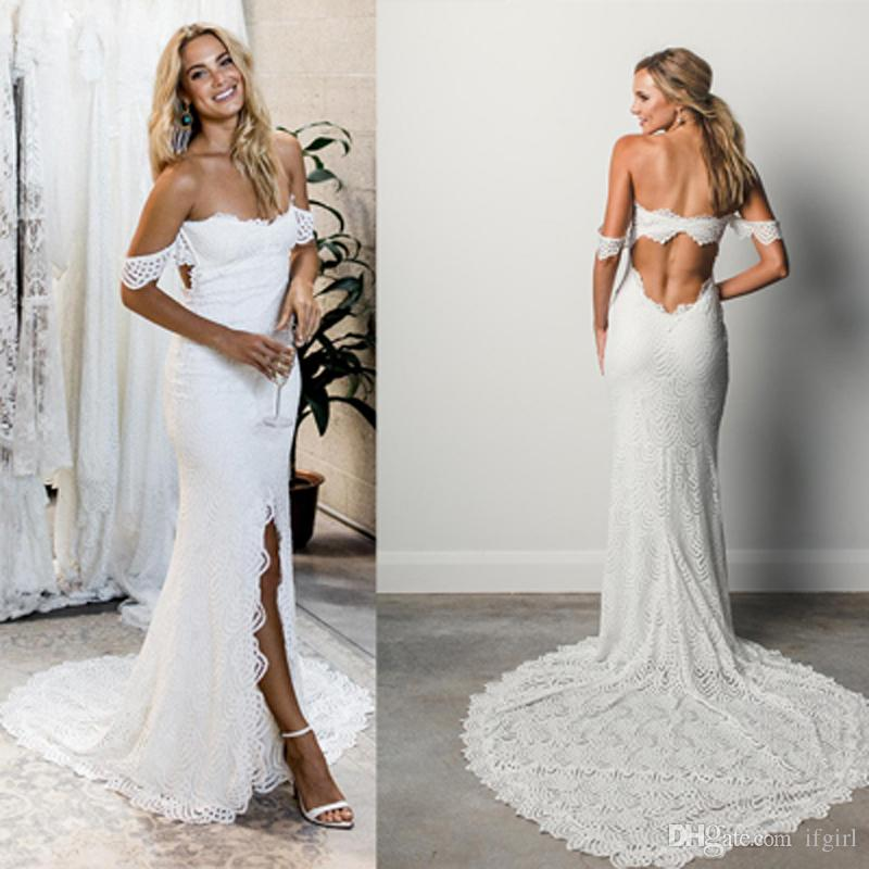 43aed6e621ba 2018 Sexy Off Shoulder Lace Mermaid Wedding Dress Strapless High Splits  Open Back Sleeveless Long Beach Wedding Dresses Vestido De Novia Cheap  Wedding Dress ...