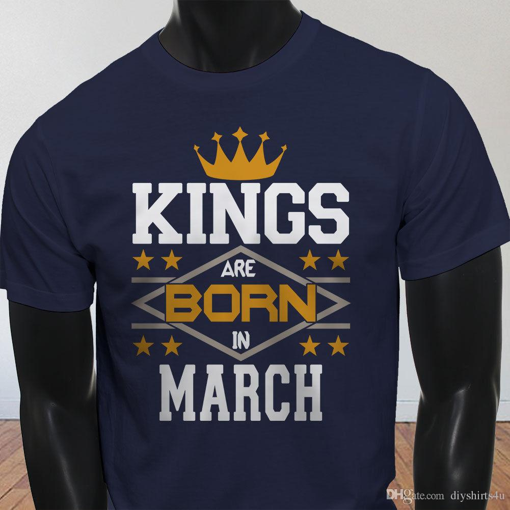 Kings Born In March Crown Birthday Pisces Aries Mens Navy T Shirt Men Swag Short Sleeve Cotton Custom Big Size Group Buy Funny Shirts