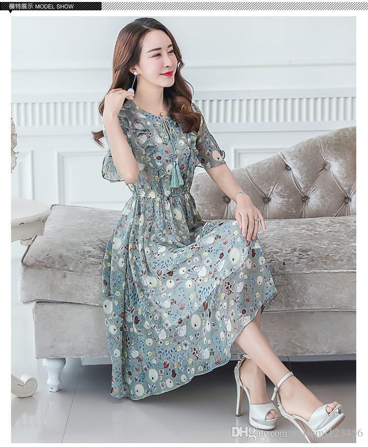 cc9d43275f1 2019 Summer Style Floral Print Maxi Dresses Women Beach Club Casual Loose Chiffon  Sleeveless V Neck Long Elegant Bohemian Dress Green From Missmi123456