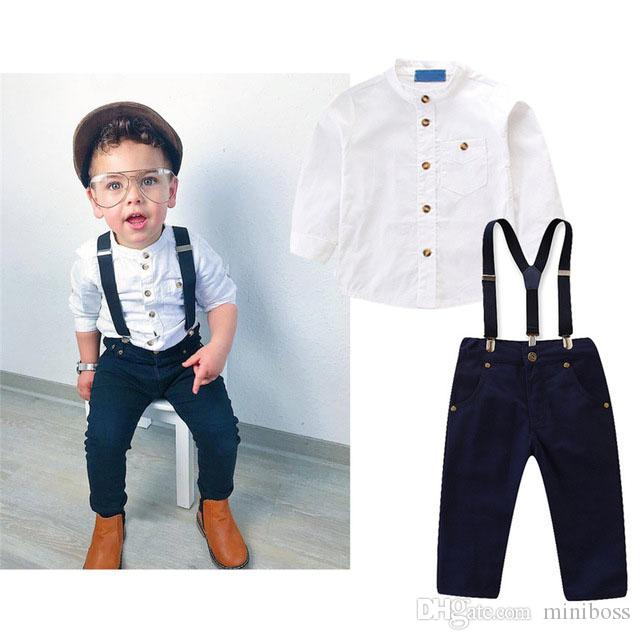 54ad7c4e3045 2019 Boys Autumn Clothing Set Gentleman Suit White Long Sleeve Shirt  +Overalls Kids Boutique Outfits Baby Boy Clothes 2 6Y From Miniboss