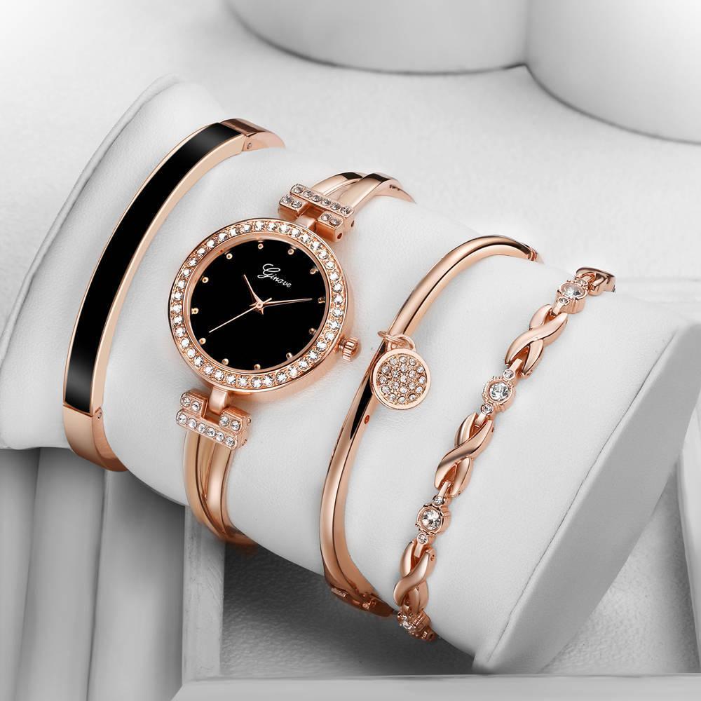 95e88613553 Compre 4 Pçsset Ginave Relógio Das Mulheres Rose Gold Diamond Pulseira  Relógio De Jóias De Luxo Senhoras Feminino Menina Hora Casual Relógios De  Pulso De ...