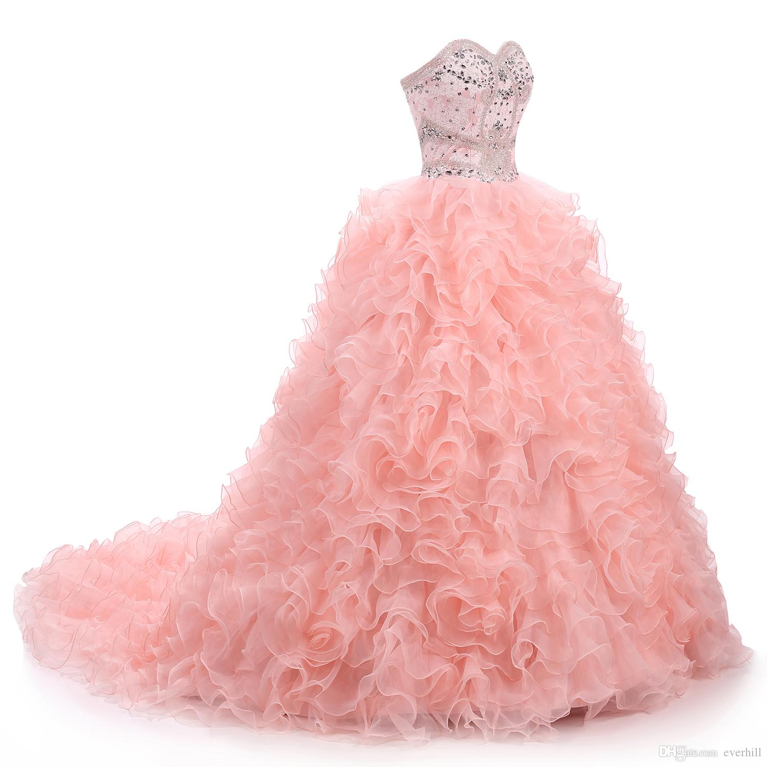 Luxury Pink Ball Gown Quinceanera Dresses With Crystal Ruffle ...
