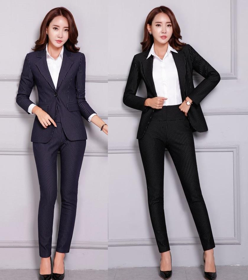 a9e65fbae2 2019 Fashion Casual Striped Blazer Women Business Suits Formal Pant Suits  Work Uniforms Ladies Pant And Jacket Sets OL Style From Matilian