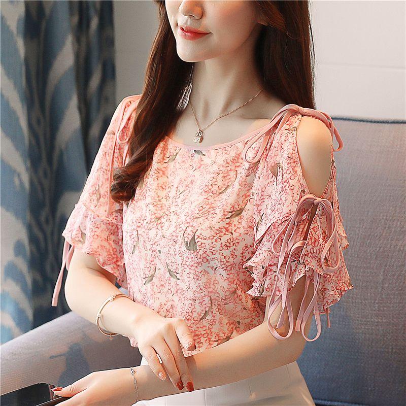 b2f1936745f4b8 Summer Fashion Ruffle Chiffon Shirt Floral Printed Shirts Crew Neck ...