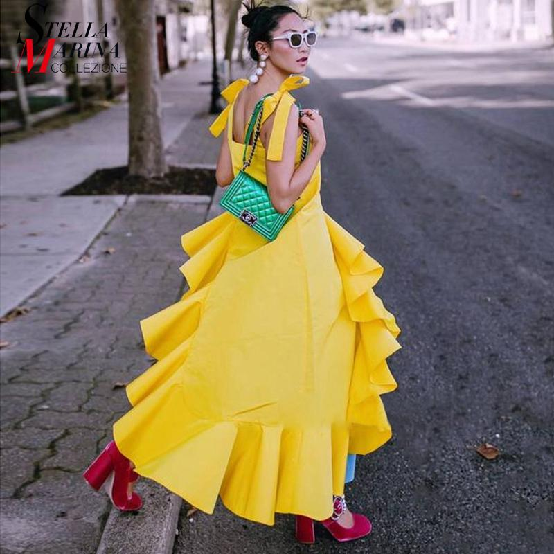 New 2018 Korean Style Summer Clothing Women Yellow Black Strap Dress  Sloping Ruffle Hem Girls Stylish Asymmetrical Dresses 3723 Summer Dresses  Maxi Dress ... 8caa8e4e5f