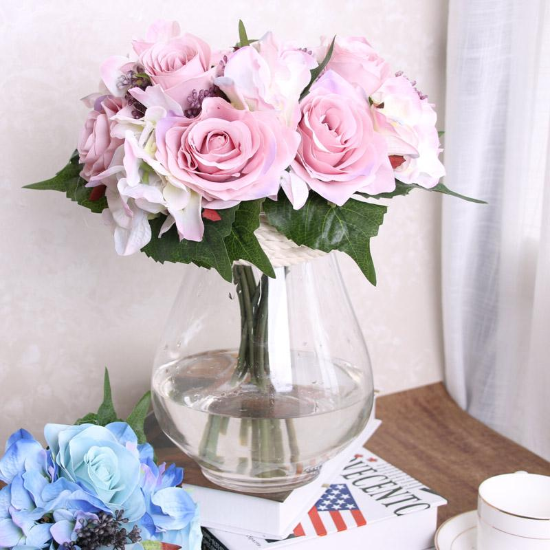 wholesale 9pcs artificial rose flowers rosejpg - Garden Rose And Hydrangea Bouquet