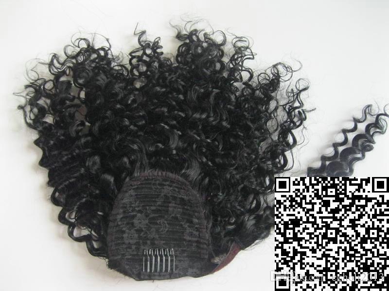 profondità ricci coda di cavallo parrucchino avvolge estensioni dei capelli dei capelli umani cordoncino coda di cavallo parrucchino brasiliana vergine 120g