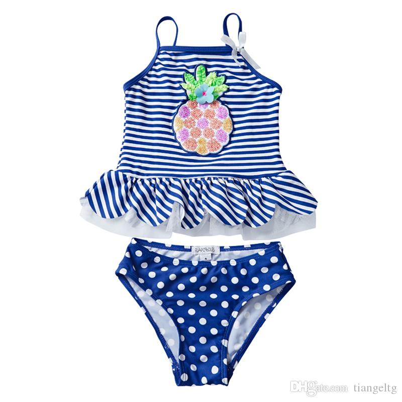 34d8e6802a 2019 UPF 50 UV Swimwear Sequins Pineapple Embroidery Falbala Striped Dots  Printed Vest Ensembles 2 Pièces Costumi Da Bagno Toddler Girls Clothing  From ...