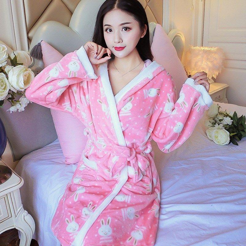 2019 2018 Autumn Women Animal Flannel Sleep Robe Plush Warm Bathrobe  Nightgown Print Female Cute Night Robe Homewear From Tutucloth 972a72ce7