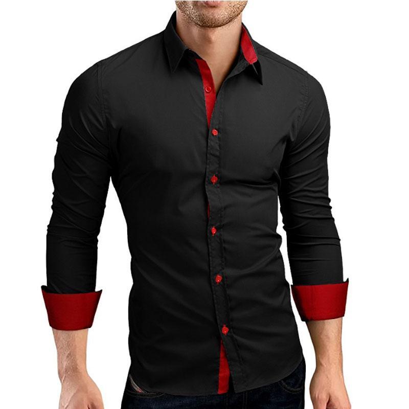 a228a3eeedb7f Compre Moda Masculina Camisa Marca Masculino De Alta Qualidade Camisas De  Manga Longa Casual Hit Cor Slim Fit Camisas De Vestido Preto 4xl De  Clothingdh