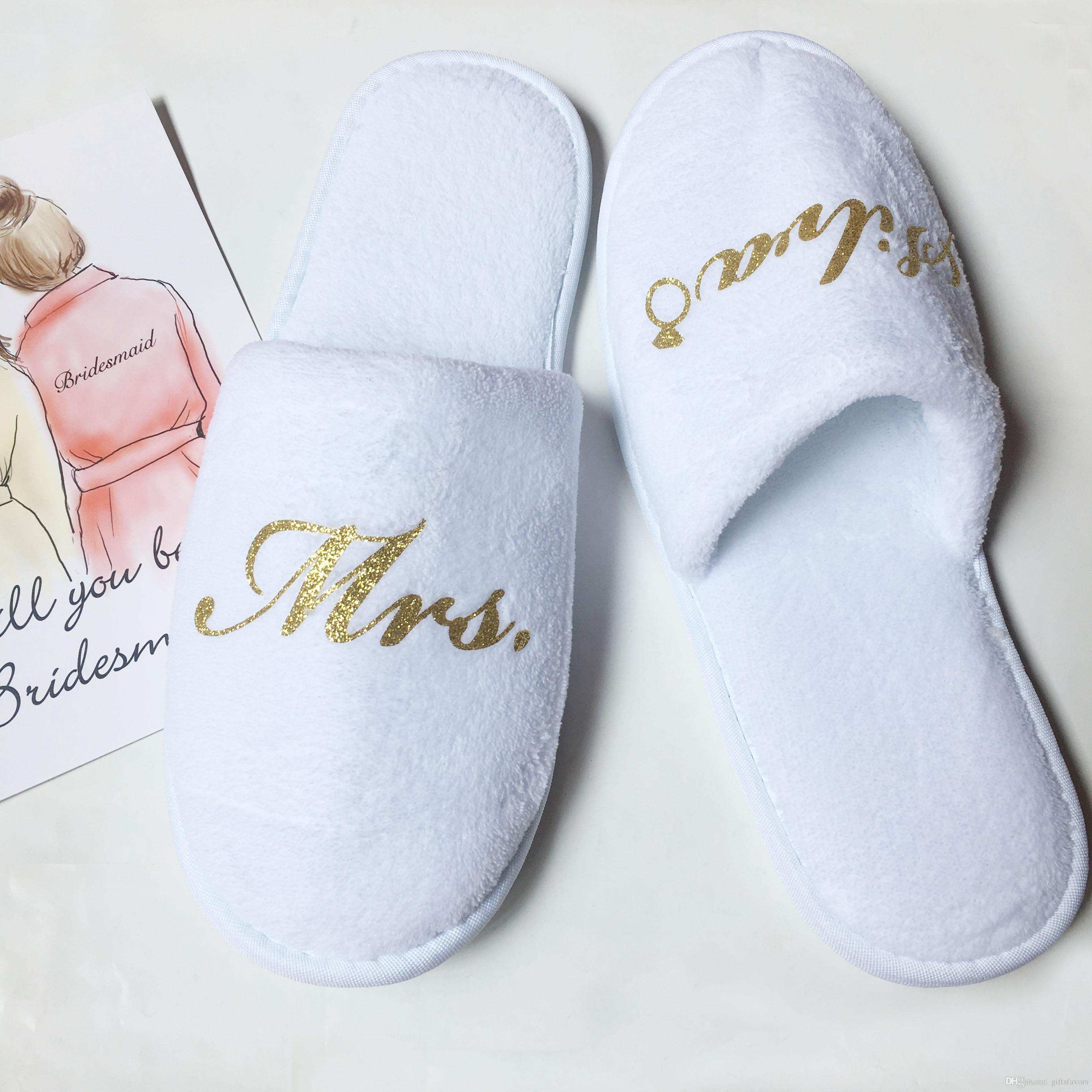 Personalized Bridesmaid Slippers Wedding Bridal Shower Party Gift