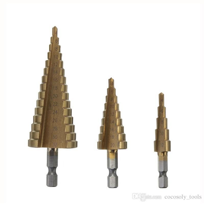 미터 나선형 플루트 단계 HSS 스틸 4241 콘 티타늄 코팅 드릴 비트 도구 세트 구멍 커터 4-12 / 20 / 32mm + 파우치