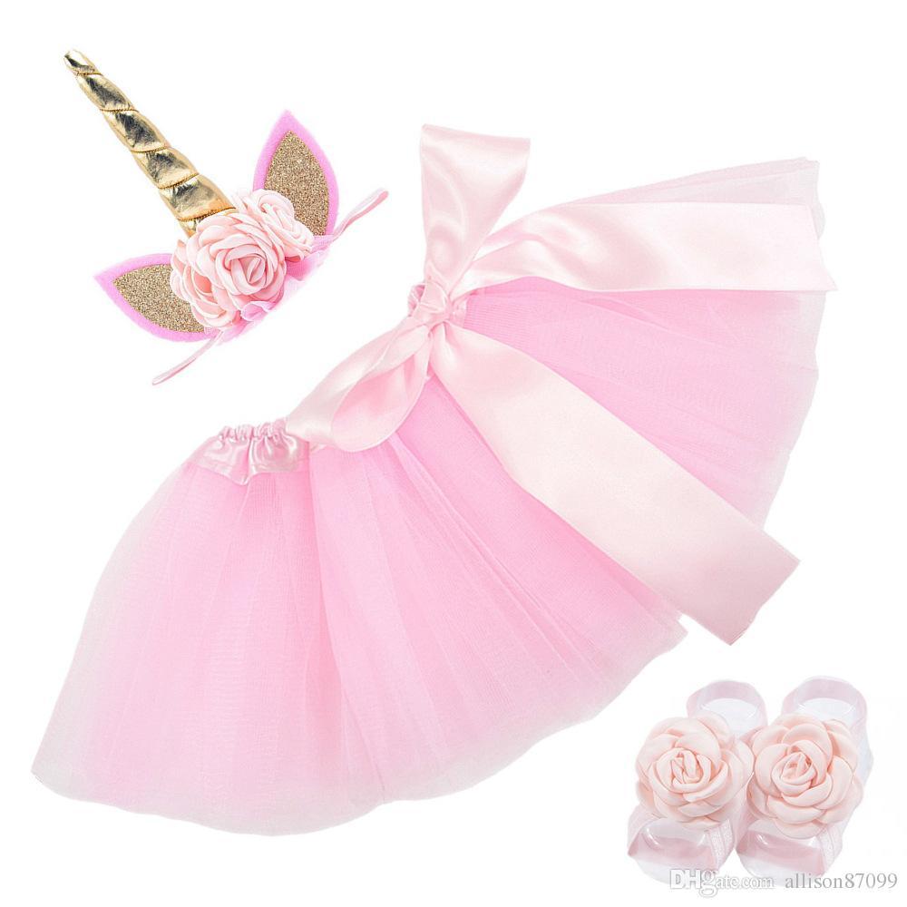Baby girl Infants Bow tutu skirt with Unicorn Headband Flower foot strap Birthday photography 2018 New Hotsale