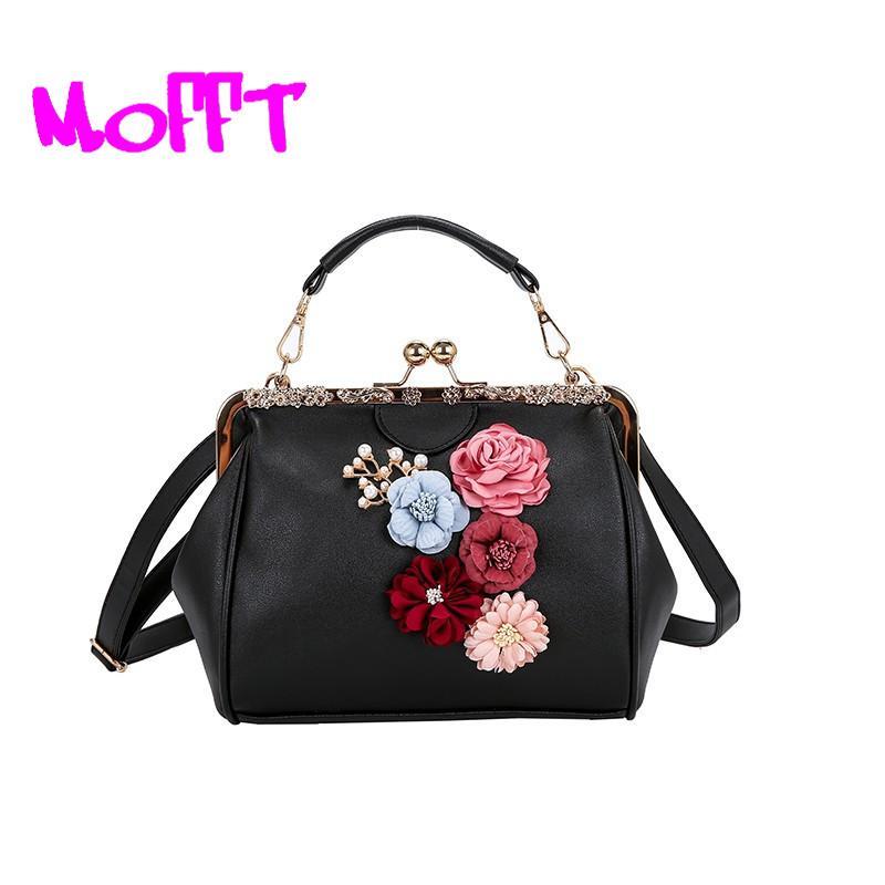 Flowers Women s Tote Leather Clutch Bag Small Girl Handbags Brand ... b93e1a843727e