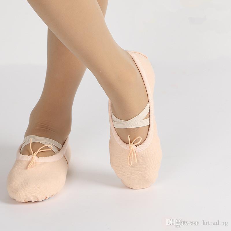 Multicolore Enfants ballerines à semelle souple orteil chaussures garçons filles pratiquent des chaussures de ballet en tissu chaussures de danse pour bébé enfants juniors adultes 3-16T