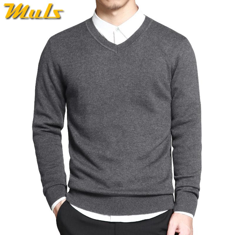 buy popular b7f43 cdca0 Merino Wool Sweater Pullovers Men V Neck Long Sweater Jumpers Luxury Winter  Warm Mercerizing Fleece Male knitwear Autumn Spring