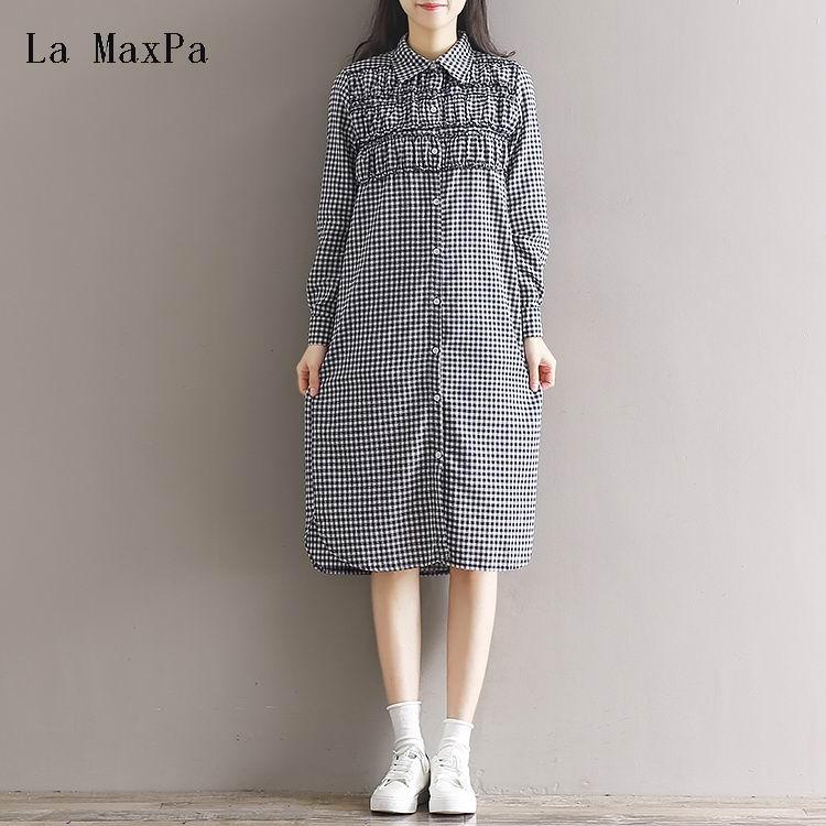 38883472df 2019 Preppy Cotton Linen Dress 2018 Spring New Japanese Mori Girl Vintage  Plaid Long Sleeve Single Breasted Maxi Long Bottom Dress From Watch2013