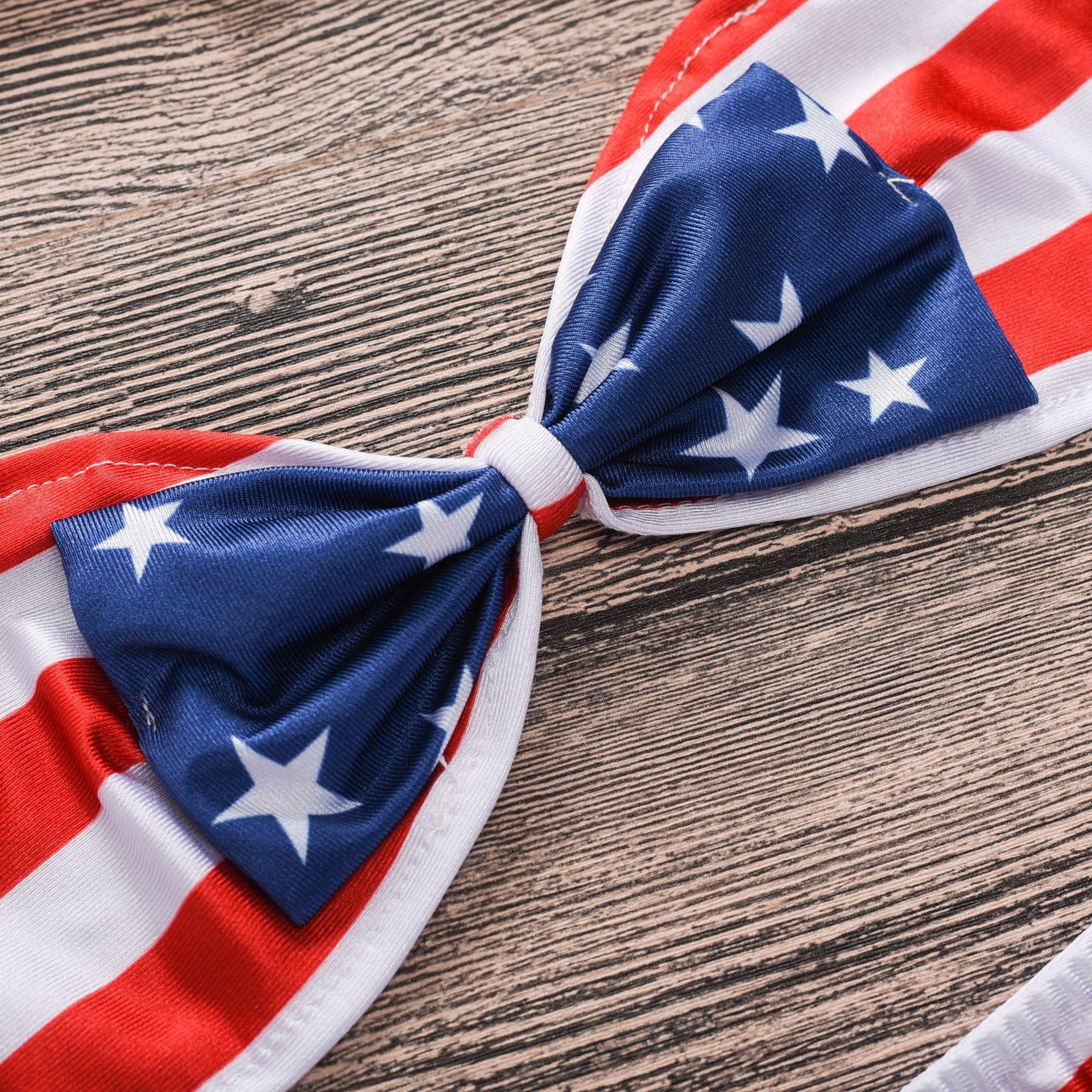 Amerikanische Flagge Baby Badeanzug Big Bow Samgamibaby Zweiteilige Bikini Infant Kleinkind Mädchen Baden Flora Geometrische Bademode A9283