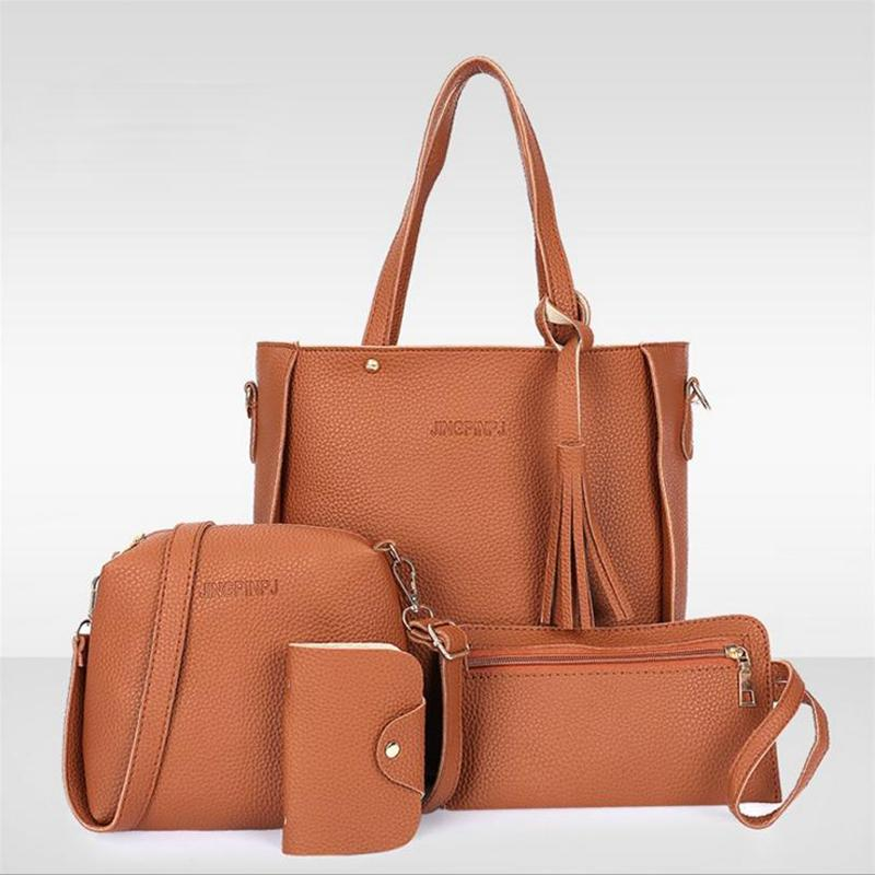 Women Bag Set Top-Handle Big Capacity Female Tassel Handbag Fashion ... b46f2b0652d4f