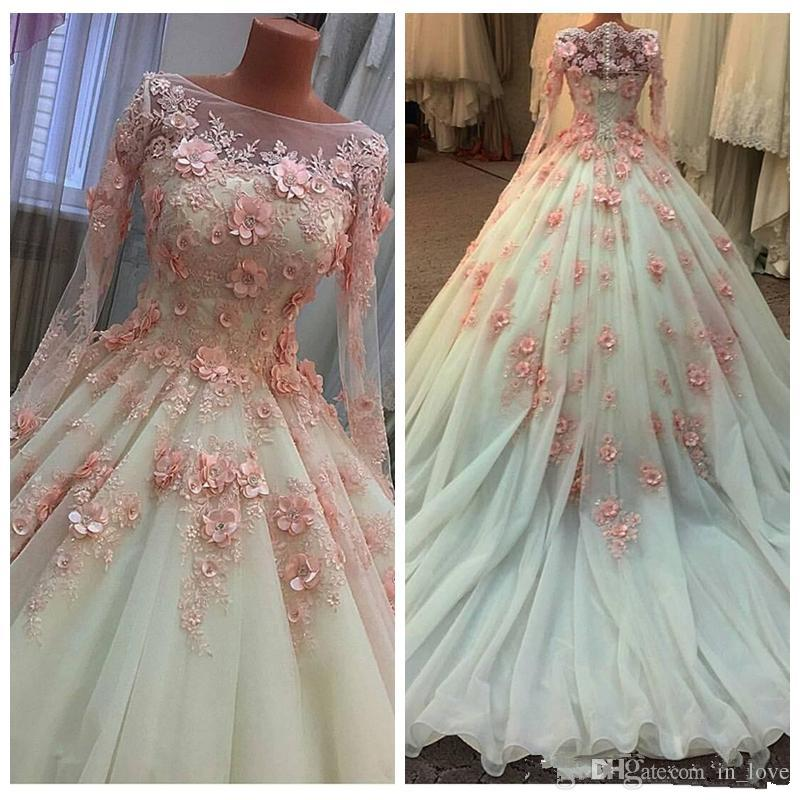 0cc30efade Pink Handmade 3D Flower Wedding Dresses Long Sleeve Ball Gown Appliques  Lace Organza Gorgeous 2019 Bridal Gowns Custom Plus Size Wedding Dress  Princess ...