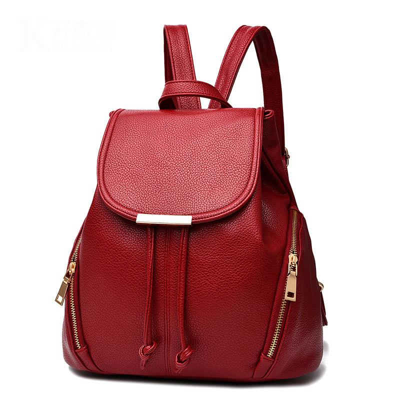3cc1ac818b8 2018 Trendy Women Backpack High Quality PU Leather Double Zipper ...
