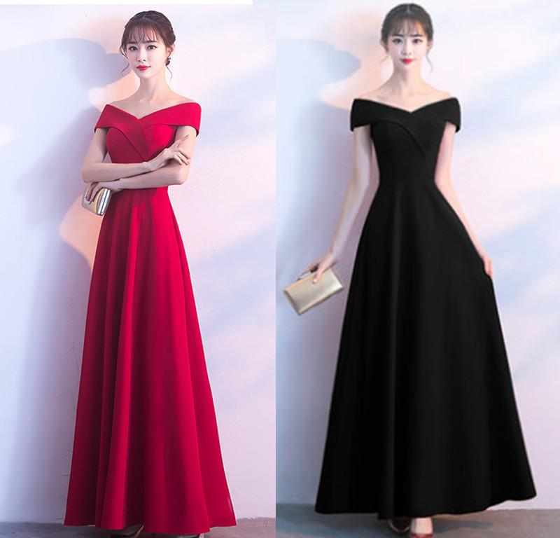 3b9755d4101158 2019 New Korean Fit Elastic Cotton Off Shoulder Summer Long Dinner Dress  Evening Dress Formal Party Dress Prom Gowns Formal Wear A0001 From  Panyoukui85
