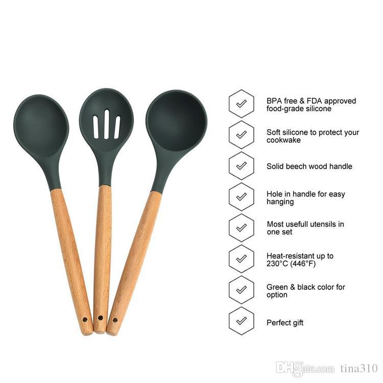 Nuevo mango de madera de silicona utensilios de cocina para cocina ranurado Turner espátula cuchara espagueti herramientas de cocina IB691