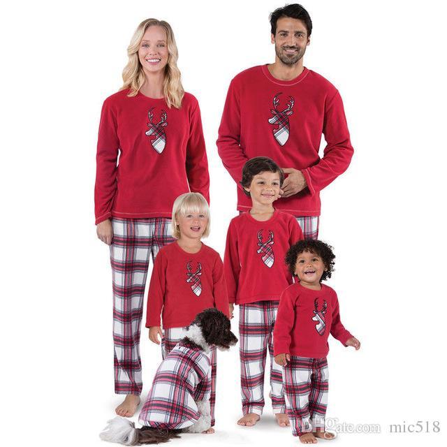 Christmas Family Matching Deer Pyjamas Set Xmas Family Matching Pajamas Set  New Year S Costumes Adult Kids Nightwear Sleepwear Matching Clothes Mother  ... 4fd1e8ba61e8
