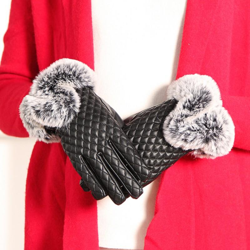 Women Winter Warm Thickening Gloves Elegant PU Leather High quality Faux Fur Wrist Warm Full Fingers Gloves