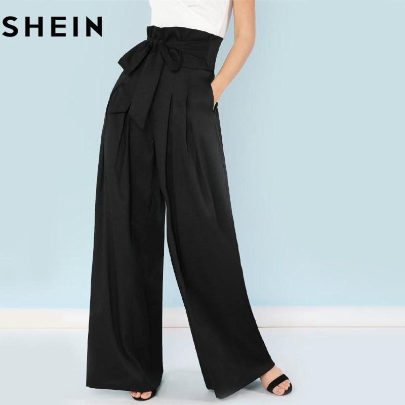 e891516558536 2019 SHEIN Self Belted Box Pleated Palazzo Pants Women EleLoose Long Pants  2018 Fall Ginger High Waist Wide Leg From Vanilla06