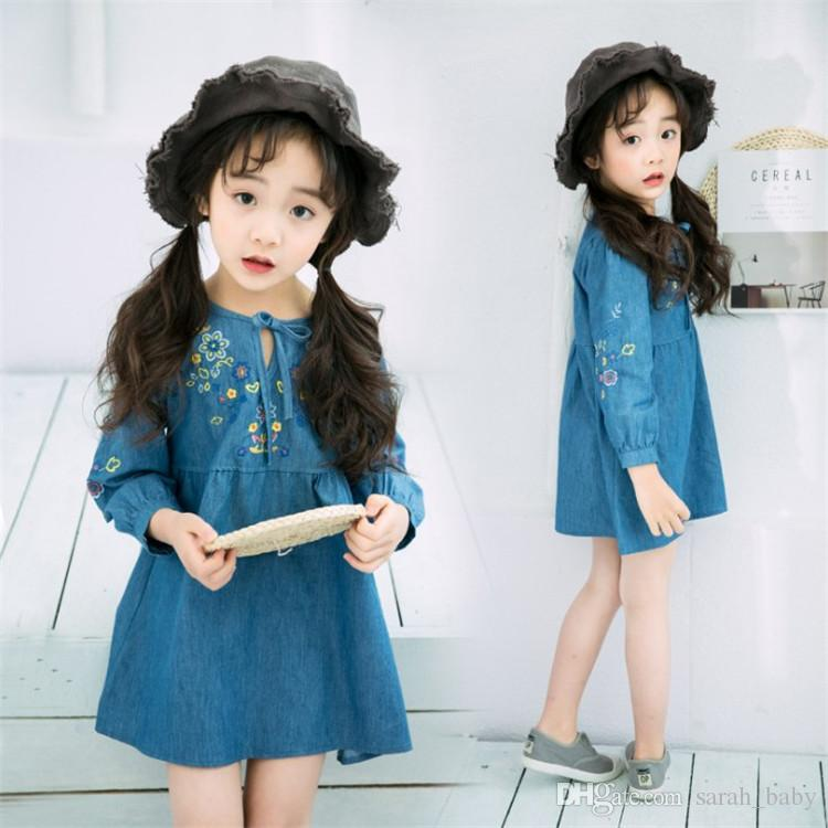 2019 Girls Dress 2018 Autumn New Korean Female Cute Floral Baby Embroidery  Flower Denim Long Sleeve Dress Baby   Kids Clothing Girl S Dresses From ... 7f4a1a6c6