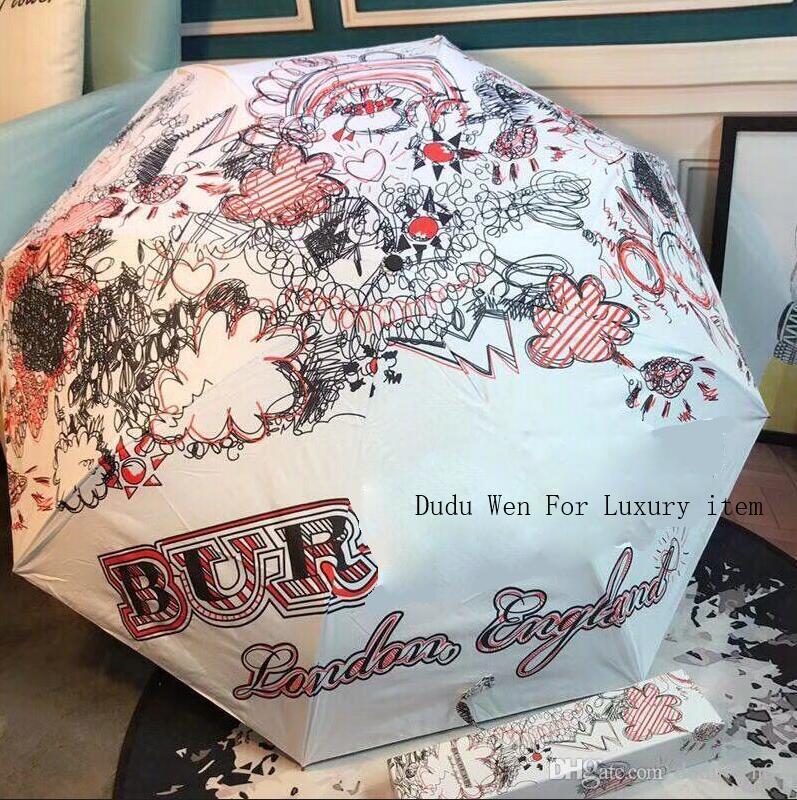 Nuova moda Graffiti-writing Ombrello Bur luxury Automatico aperto e chiuso Etichetta vintage Ombrello pioggia o sunshie con confezione regalo
