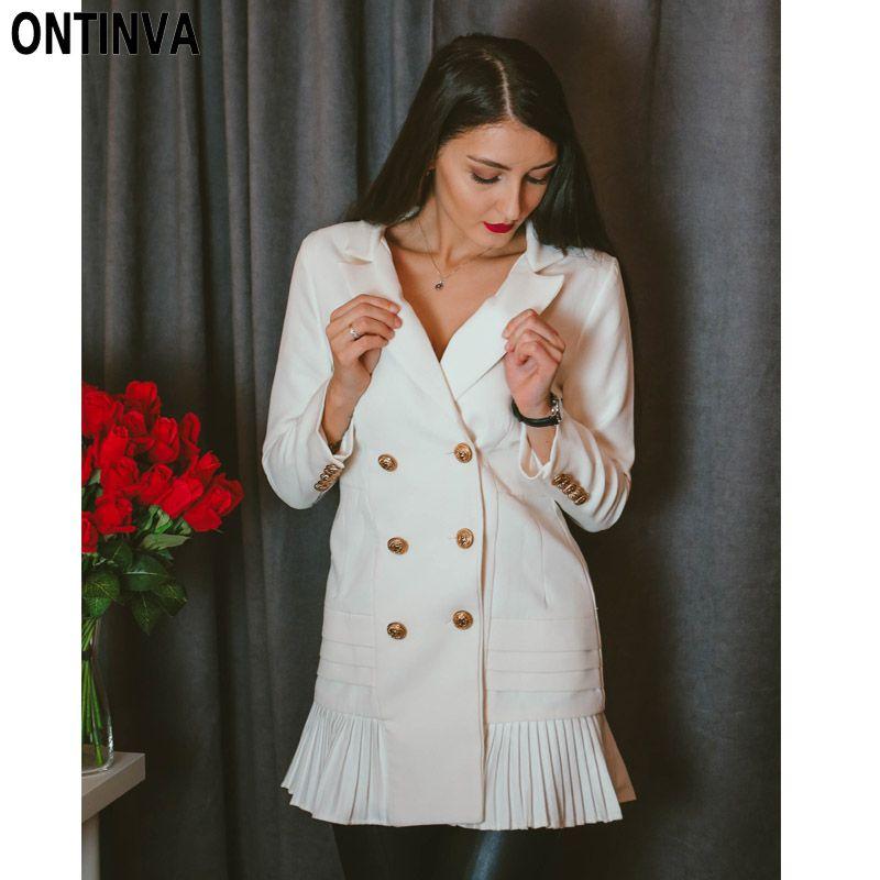 Nova Moda Feminina Blazer Vestido Workwear Branco Com Plissado Escritório Senhoras Blaser Roupas Longas Outono Botão de Ouro Primavera Verão Outono Vestidos