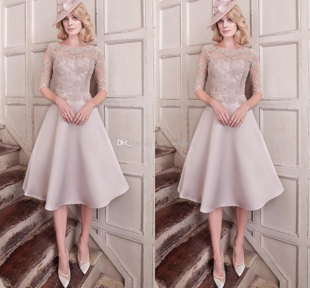 cac10289fb Elegant Mother Of The Bride Dresses Lace Satin Half Sleeves Knee Length  Wedding Guest Dresses Formal Occasion Dresses Chiffon Mother Of The Bride  Dresses ...