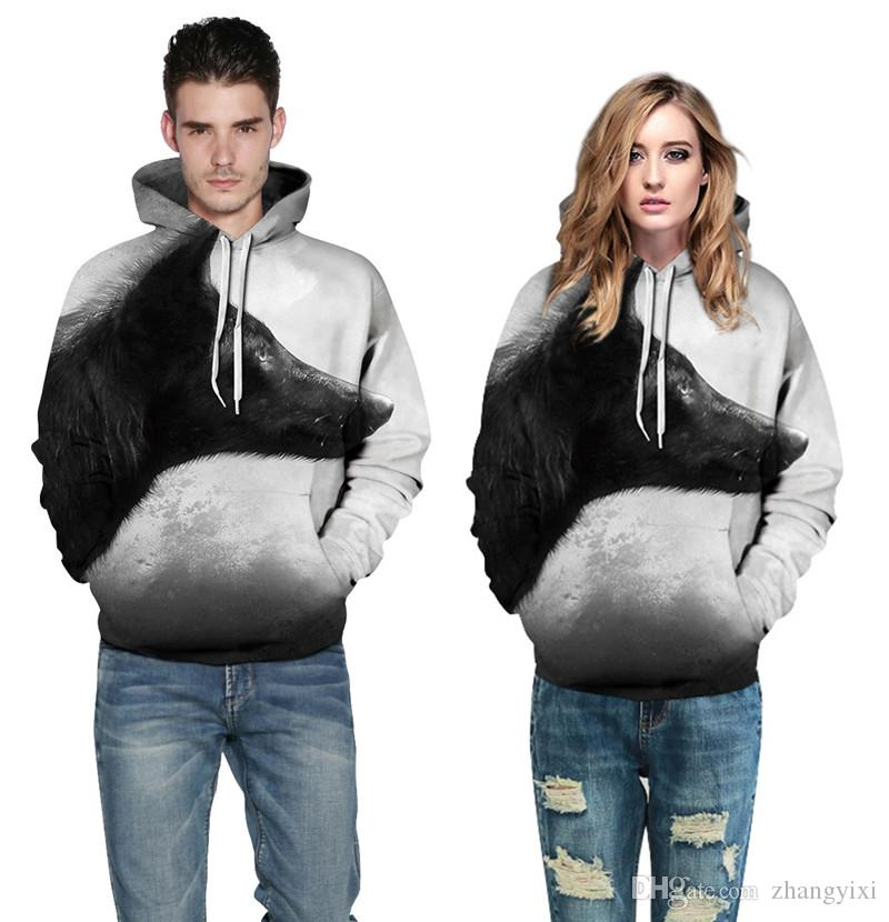 Wholesale free shipping Men Women Animal Wolf Unicorn 3D Digital Printed Long Sleeve Cotton Hoodies Sweatshirt Outfit