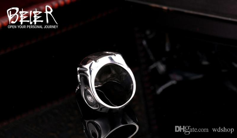 Dropshipping Big Motor Biker Skull Ring For Man Stainless Steel Unique Punk Men Cool Vintage Jewelry Iron Man Ring