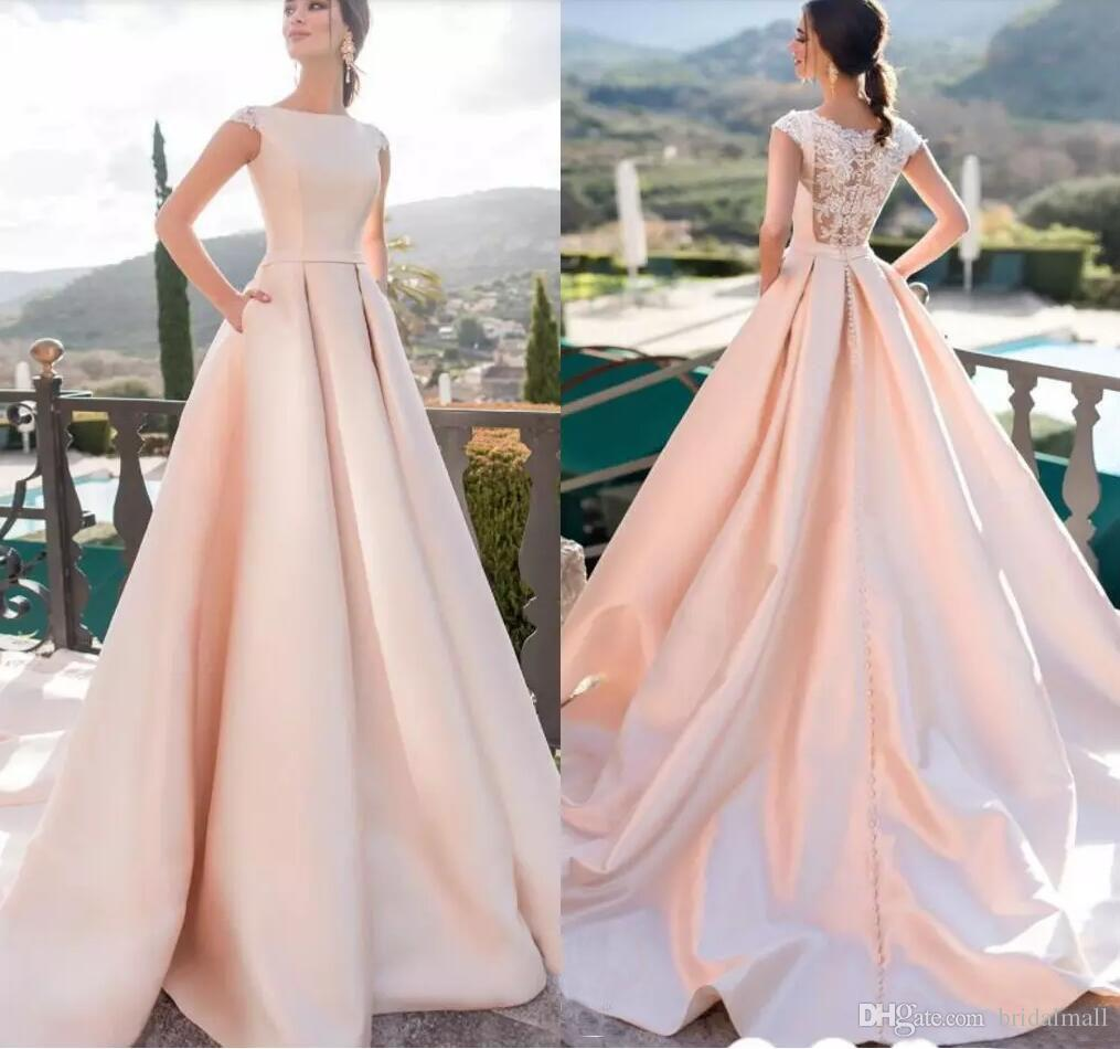 bc307bf74f2 Elegant Baby Pink Satin Cap Sleeves Evening Dresses 2019 Hollow Button Back  Formal Party Gowns Appliques Tiered Ruffles Pageant Prom Dresses African  Evening ...