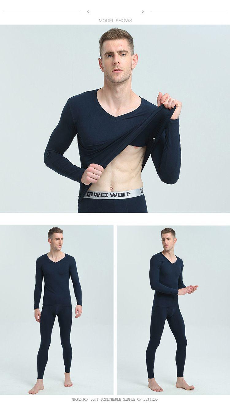 New Winter Mens 따뜻한 열 속옷 Mens Long Johns 섹시한 검정 열 속옷 세트 두꺼운 플러스 Velet Long Johns For Man