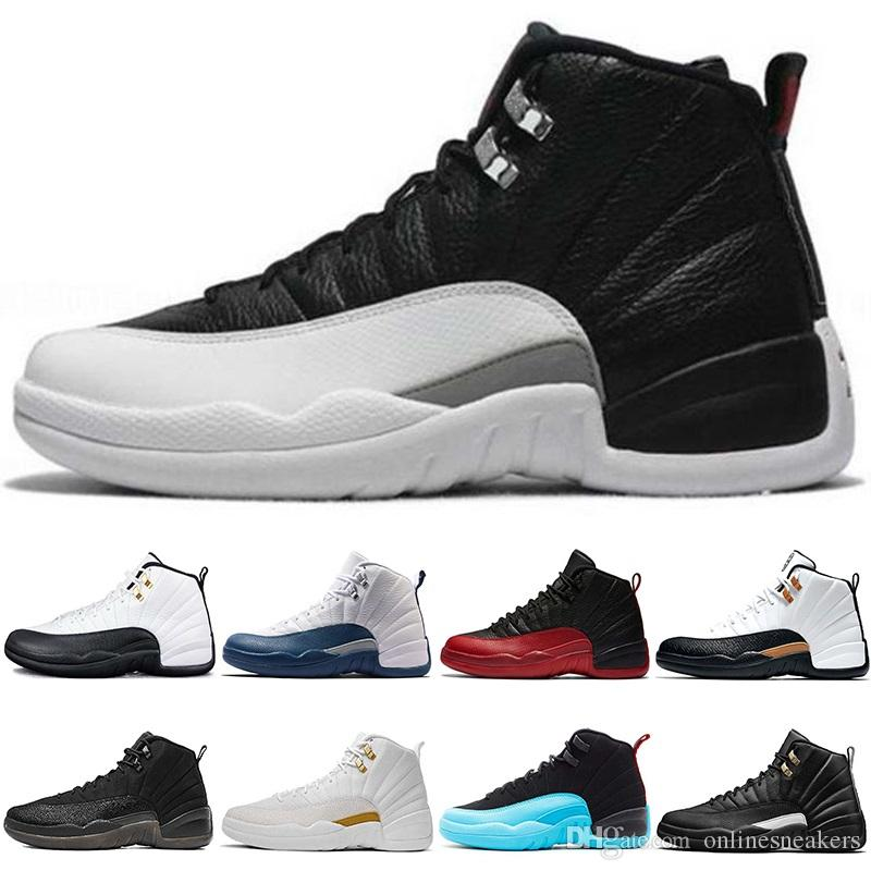 online store faf9f e61c3 Scarpe Kawasaki Nike Air Jordan Retro Scarpe Da Basket 12 12s Uomo Taxi The  Master Flu Gioco French Gamma Blue CNY Nero Bianco Playoff Mens Athletic  Sports ...