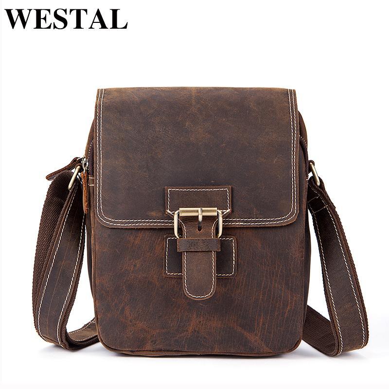 WESTAL Men s Shoulder Bags Small Crazy Horse Genuine Leather ... 8d5e7e77bd388