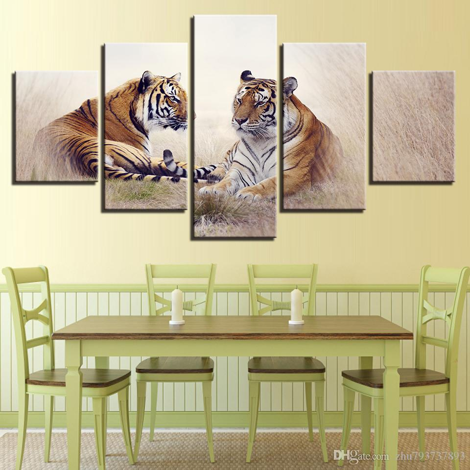 2018 Wall Art Modern Hd Printed 5 Panel Tiger Couples Scenery Poster ...