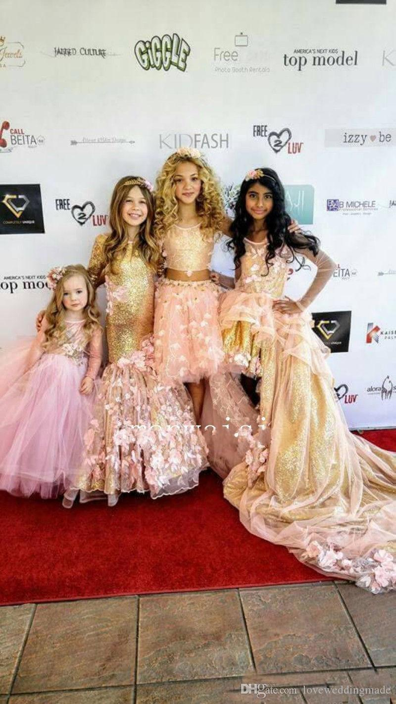Newest 2019 Girls Pageant Dresses Gold Sequins Hand Made Flowers Long Sleeves Kids Mermaid Formal Prom Gowns For New Year