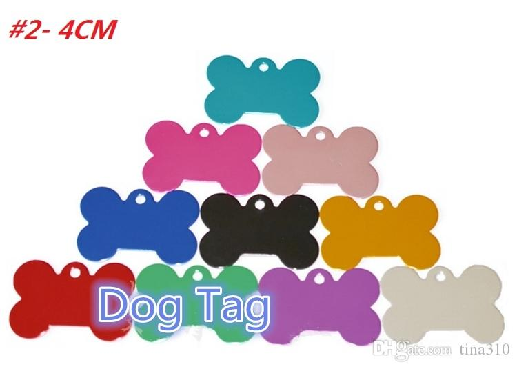 Dog Tag Metal Blank Military Pet Dog ID Card Tags Aluminum Alloy Army Dog Tags No Chain Mixed colors I171