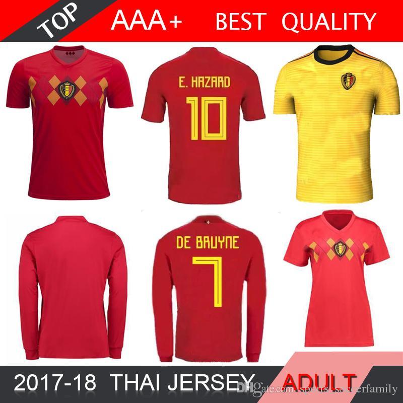 f4422533054 2019 HAZARD NAINGGOLAN DE BRUYNE 2018 Belgium World Cup Long Soccer Jersey  LUKAKU FELLAINI E Home Away Soccer Jersey 18 19 Women Football Shirts From  ...